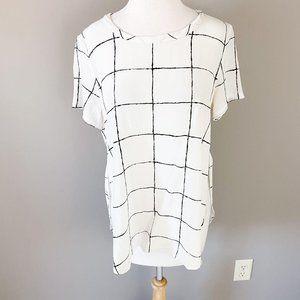Acroba Short Sleeve White Black Silk Top Medium